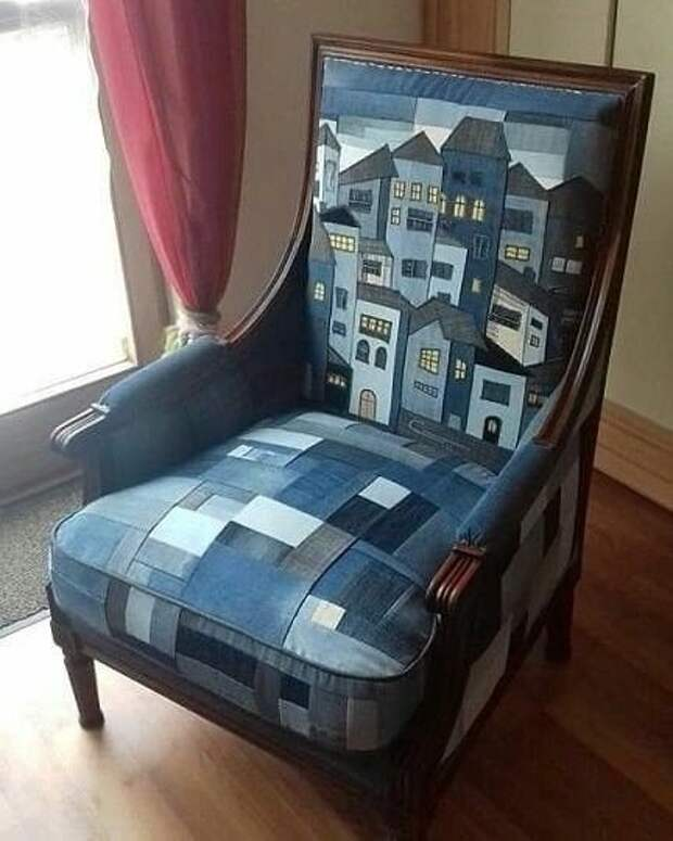 Реставрация кресла с использованием джинсы.  Оцените работу!