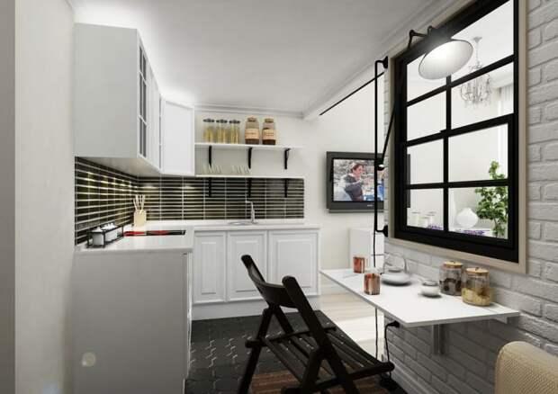 кухня в дизайне маленькой студии 25 кв. м.