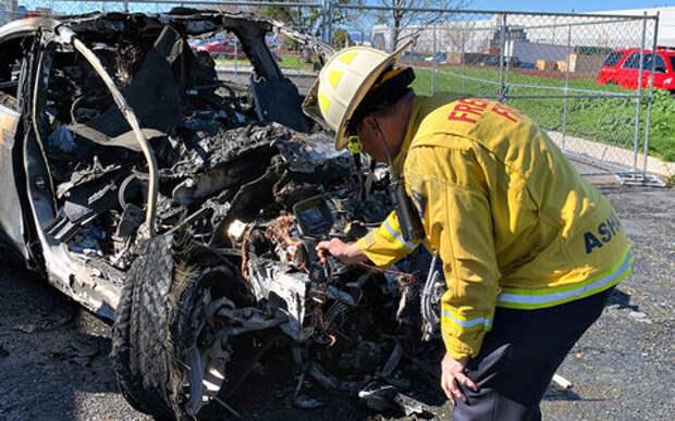 Крушение Теслы не повредило водителю