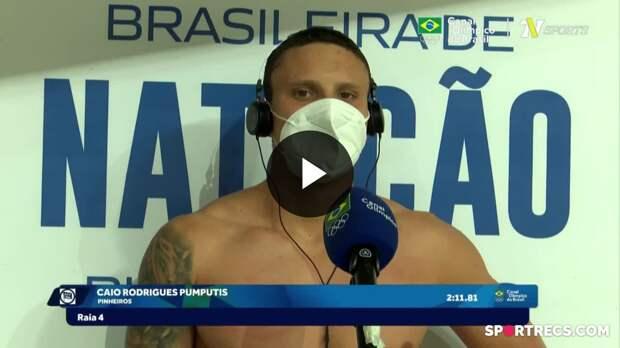 Caio Pumputis fala sobre não ter conseguido a vaga olímpica nos 200m Peito Masculino - Dia 4 do Pré-Olímpico de Natação (22/04/2021)