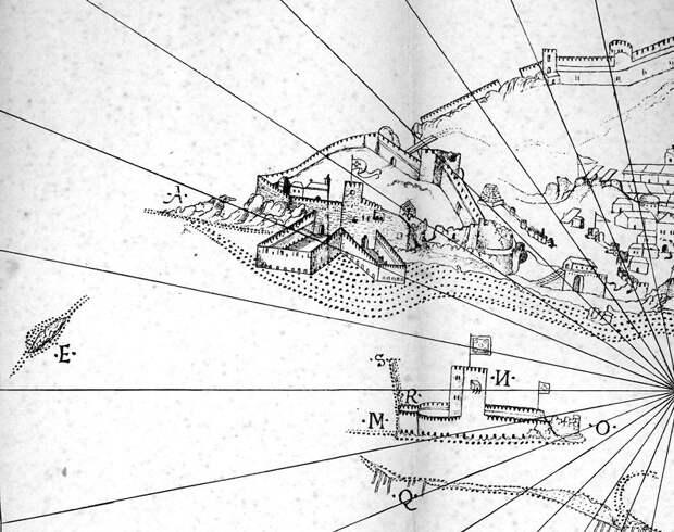 Фрагмент рисунка с крепостью и «морской башней» - Диу: город в подарок | Warspot.ru