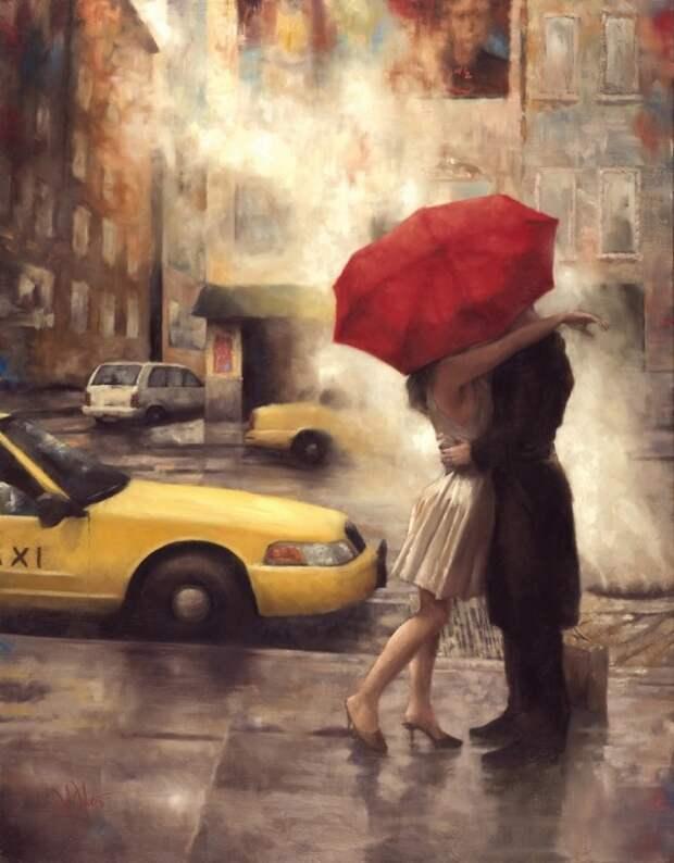 Красный зонт и поцелуй от Даниэля Дель Орфано.