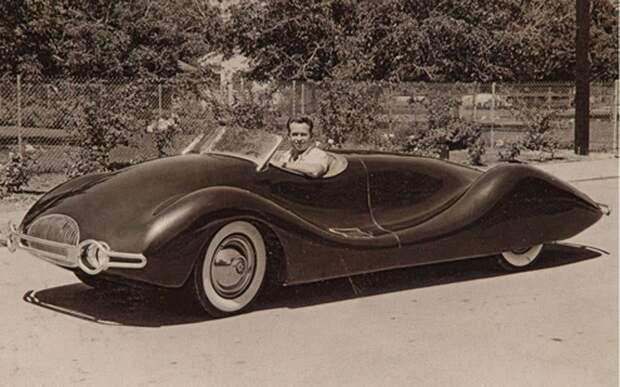Buick Streamliner от конструктора Нормана Тимбса (Norman E. Timbs) (1940). Изготовлен кустарным способом, назван Бьюиком, т.к. в авто двигатель этой марки автомир, аэродинамика, из прошлого, конструкция, обтекаемость. формы