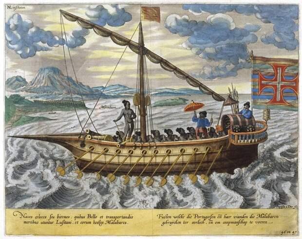 Фуста в Португальской Индии на рисунке в книге ван Линшотена (конец XVI века) - Диу: недружественный визит | Warspot.ru