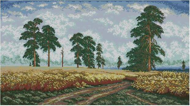 Схема вышивки крестом - Рожь картина Ивана Шишкина