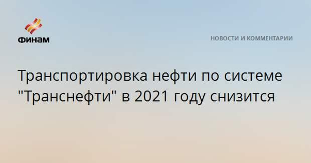 """Транспортировка нефти по системе """"Транснефти"""" в 2021 году снизится"""
