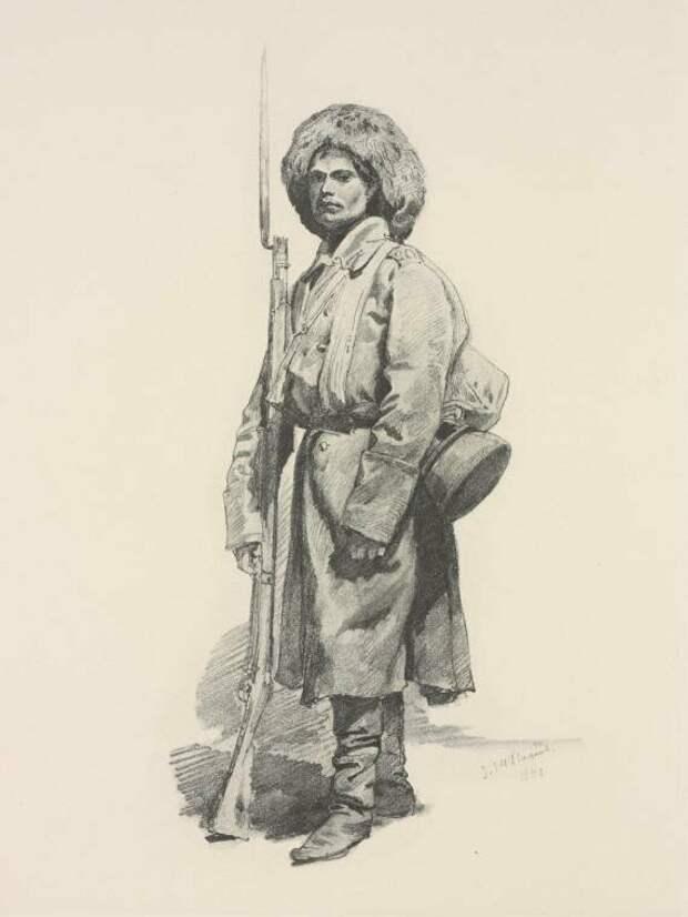 Русский солдат на Кавказе. Худ. Горшельт