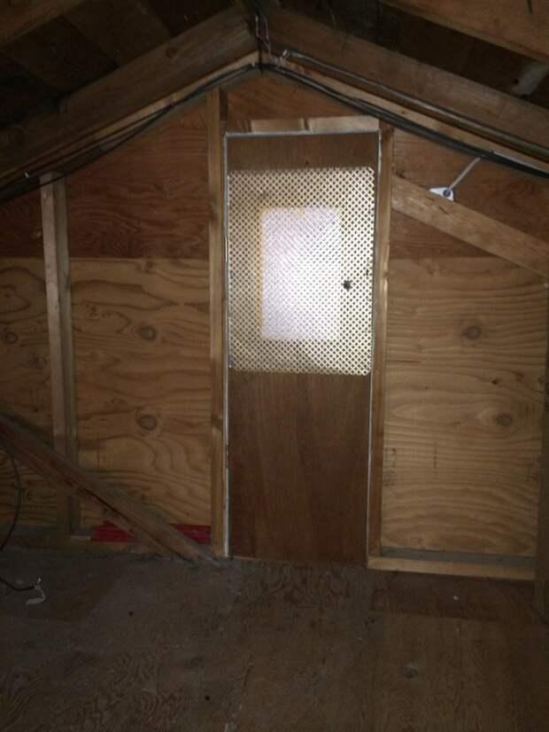 Маленькая дверь ( 1,2 м в высоту, 0,45 м в ширину) и металлическая сетка на окошке дом, загадка, комната, находка, странность, фотография, чердак