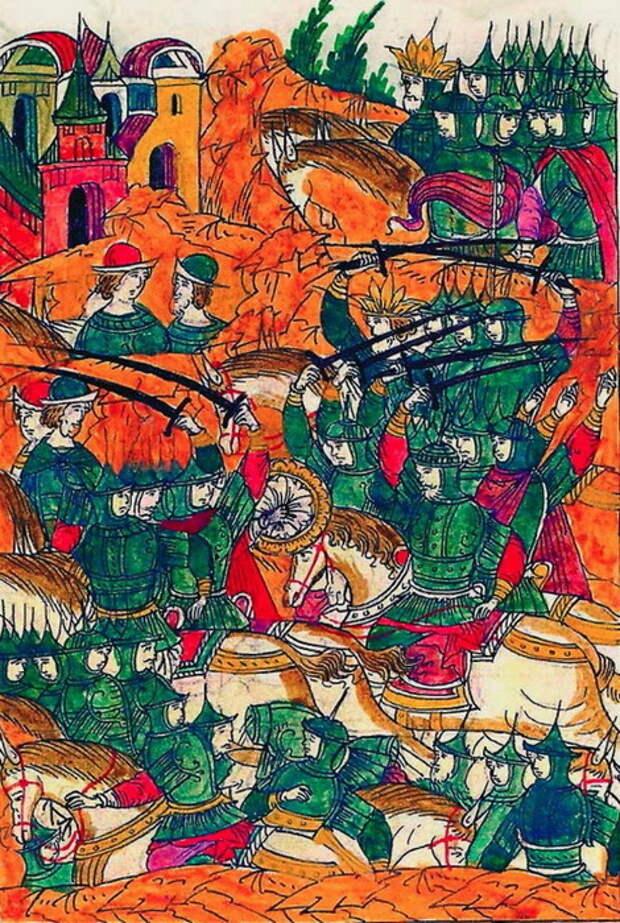 Второй день битвы. Хан одолевает Шереметева. Миниатюра из Лицевого свода, том 22 - «Ознаменованная славой отчаянной битва…» | Warspot.ru