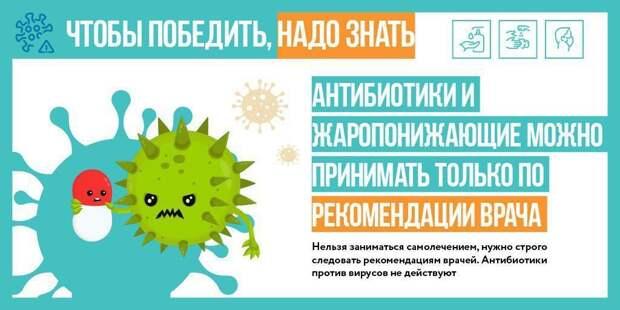 Антибиотики не помогают против коронавируса, напоминают жителям Москвы