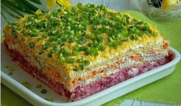 Рецепт потрясающего закусочного торта: красивый, аппетитный и вкусный