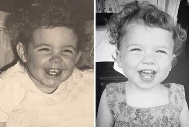 24. Бабушка и внучка дети, неожиданно, подборка, родители, семья, сравнение, тогда и сейчас, фото