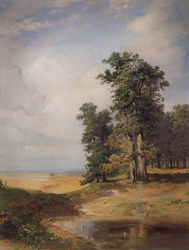Летний пейзаж с дубами. 1855 год). Автор: Алексей Саврасов.