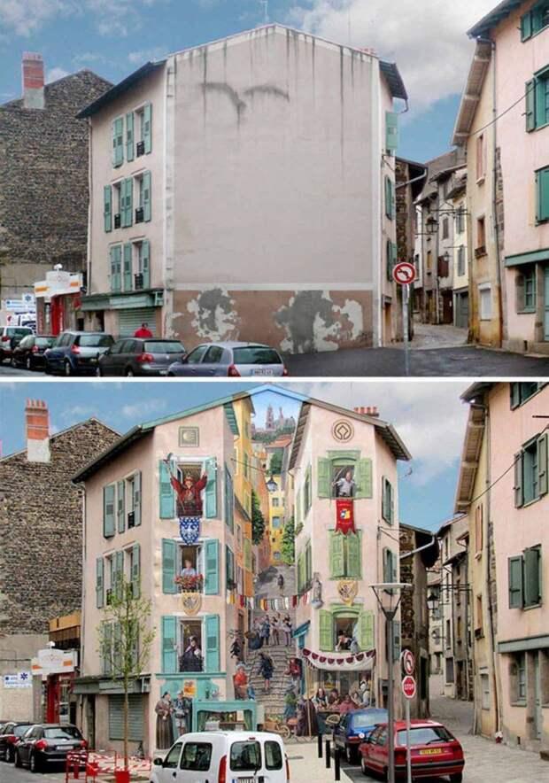Креативный стрит-арт на здании