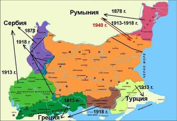 Вот такой была изначальная Великая Болгария, созданная некогда Россией. На карте показаны территории, которые Болгария потеряла, связавшись со своими новыми друзьями немцами