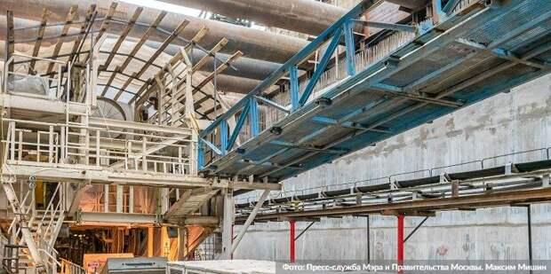 Собянин осмотрел строящуюся станцию «Текстильщики» БКЛ метро. Фото: М. Мишин, mos.ru