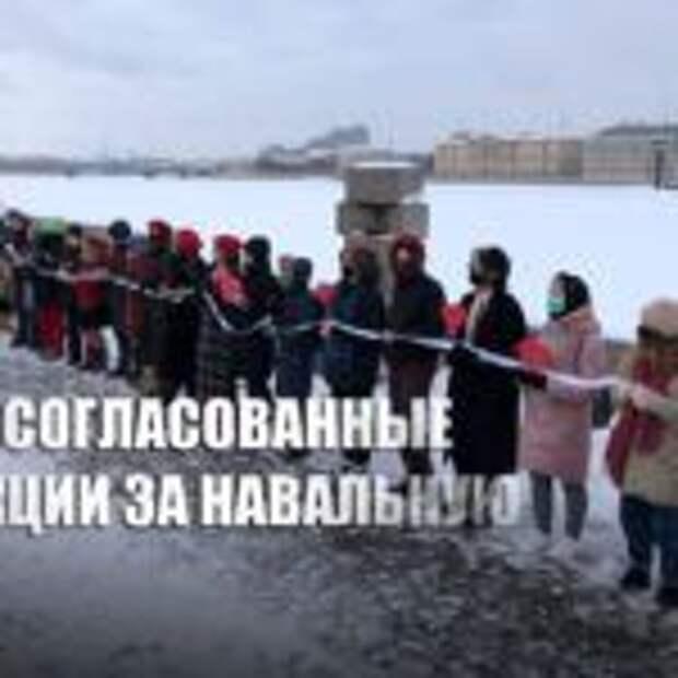 «Раздавали конфеты»: В Москве и Петербурге прошли акции в поддержку Навальной