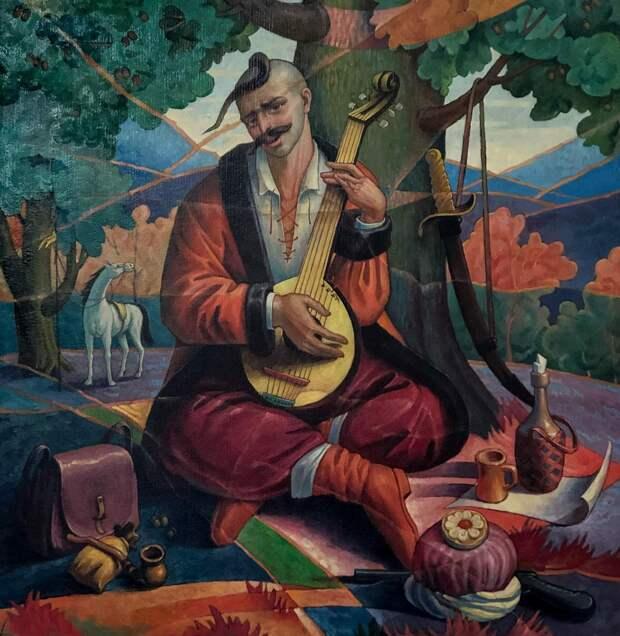 Казак Мамай. Народная картина. XIX в. Идеализированный образ казака и своеобразный духовный символ на Украине