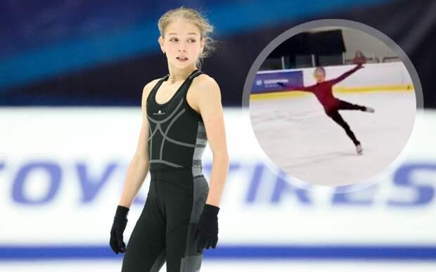 Трусова показала, как исполнила четверной риттбергер на тренировке