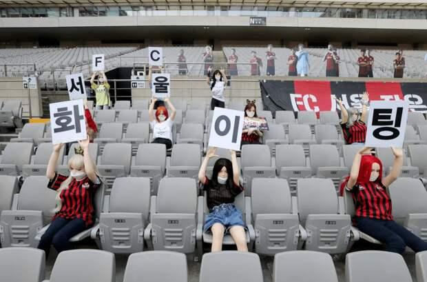 В Южной Корее зрителей футбольного матча заменили секс-куклы