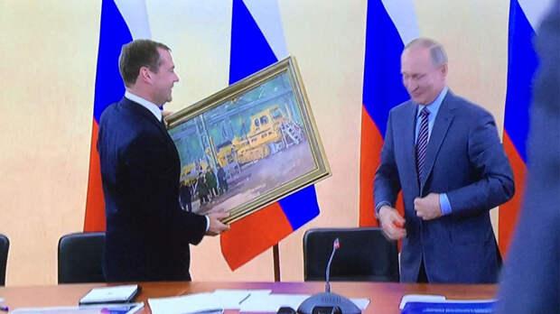 Что он имел ввиду? Путин подарил Медведеву на день рождения странную картину