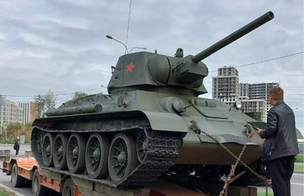 В Некрасовку привезли танк Т-34 — главный элемент будущего мемориала