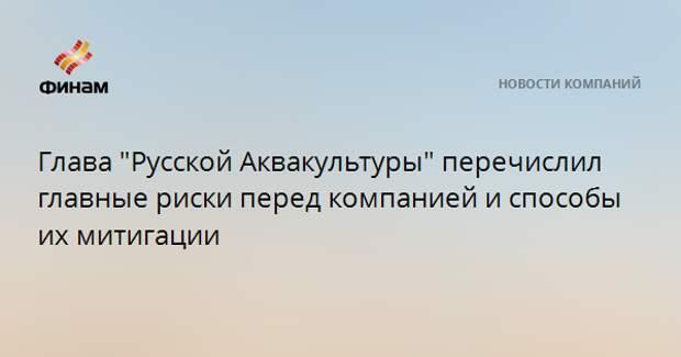 """Глава """"Русской Аквакультуры"""" перечислил главные риски перед компанией и способы их митигации"""