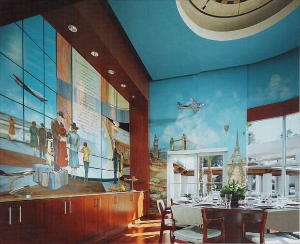 Необычная фреска стала главным украшением основной столовой.   Фото: architecturendesign.net.