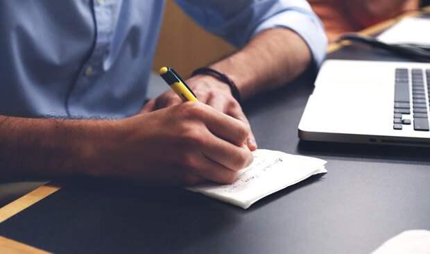 Человек, Написать, План, Стол, Примечания, Ручка, Дать