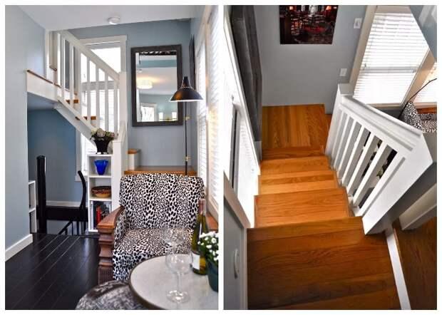 Лестница из натурального дерева соединяет гостиную и спальню (Bird House, штат Северная Каролина).