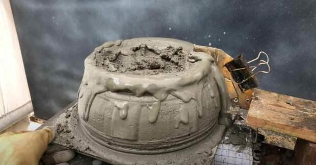 Как сделать цементный горшок с помощью простого самодельного приспособления