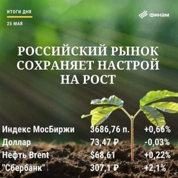Итоги вторника, 25 мая: Внешний оптимизм может увести индекс МосБиржи к новым вершинам