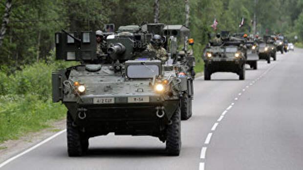Передислокация колонны военной техники США во время учений Dragoon Ride II