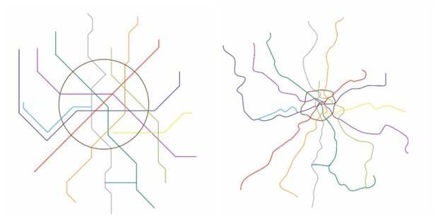 Как на самом деле отличается схема метро от реальности гифка, метро, схема