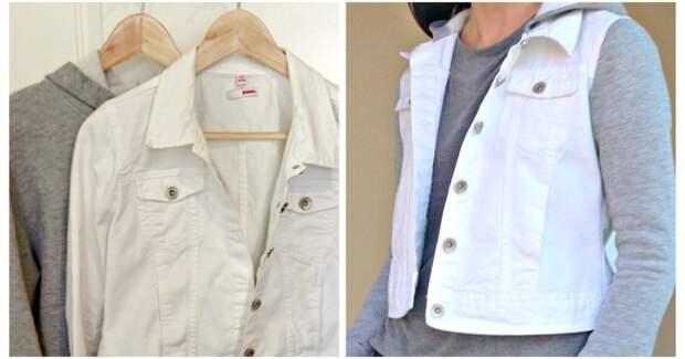 Новая стильная вещь из старой толстовки и джинсовой куртки: стильно и тепло