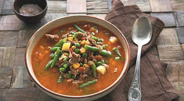 ДЕНЬ ПЕРВОГО БЛЮДА. Быстрый овощной суп с фаршем