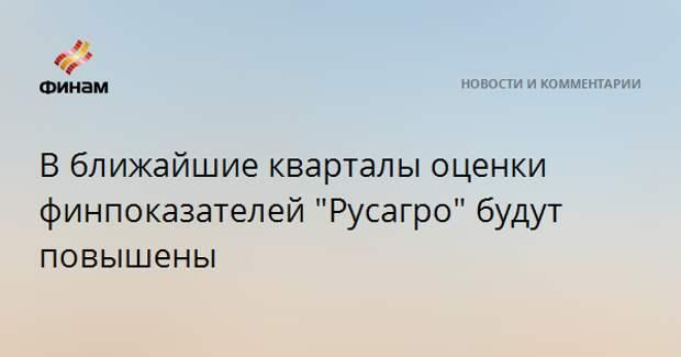 """В ближайшие кварталы оценки финпоказателей """"Русагро"""" будут повышены"""