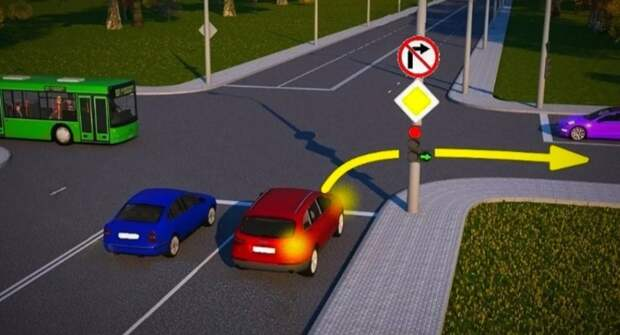 Изучаем ПДД. Может ли красный автомобиль повернуть направо?