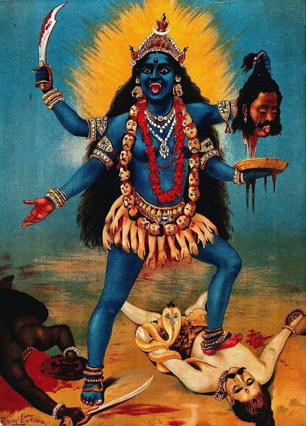 Kali trampling Shiva. Chromolithograph by R. Varma.