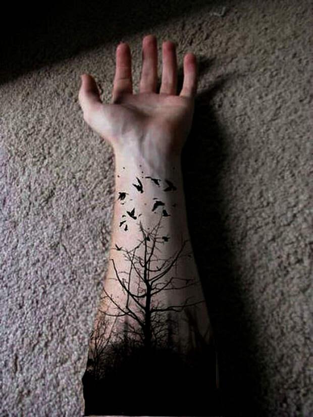Черно-белый пейзаж на руке.