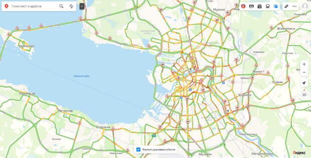 Первый рабочий вечер после праздников собирает в Петербурге аномальные пробки