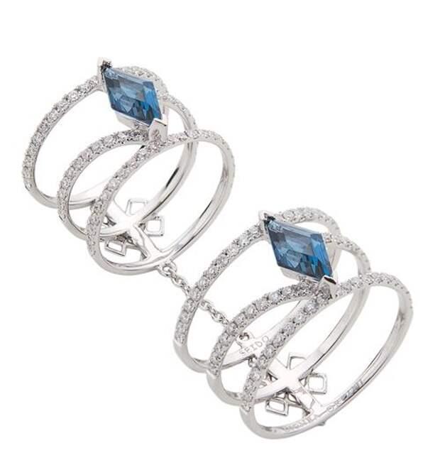 двойное многорядное кольцо из белого золота с сапфирами