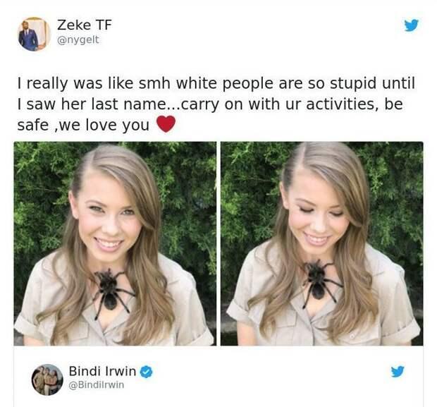Недавно в Твиттере под фото с тарантулом эту девушку назвали глупой.. Пока не увидели ее фамилию. Бинди Ирвин, дикие животные, животные, зоопарк, истории, натуралист, охотник на крокодилов, стив ирвин