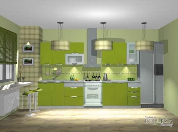 Оливковая кухня насыщенного оттенка поглощает много света, часть стен и потолок поэтому белые