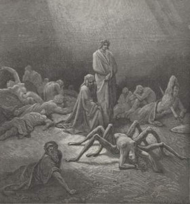 Данте в чистилище. Таким великого итальянского поэта увидел иллюстратор Гюстав Дорэ.