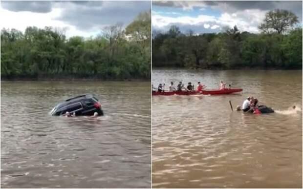 Трое храбрых: спасение женщины из тонущего автомобиля