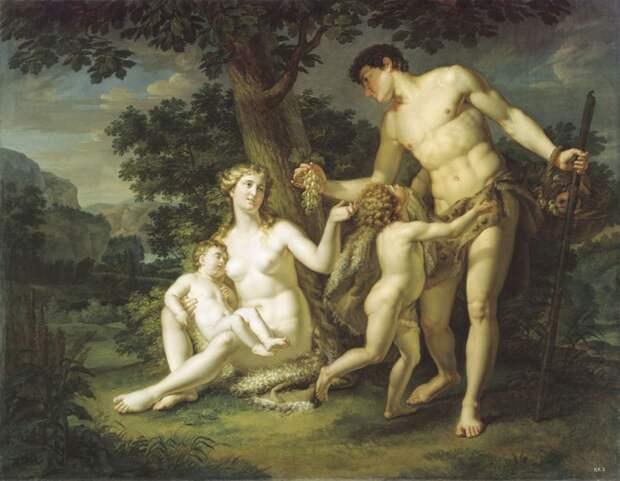 Андрей Иванов - Адам и Ева с детьми под деревом