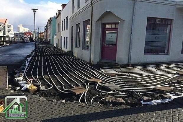 Тротуары с подогревом в Исландии.