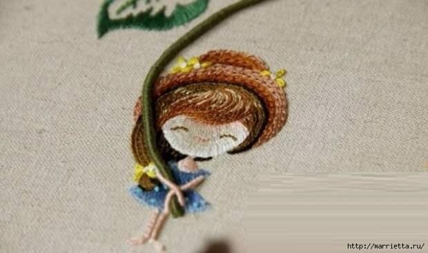 Цветы объемной вышивкой гладью. Красивые работы (30) (667x394, 156Kb)