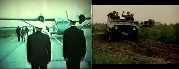 """На фото справа: один из самых лучших экшен-моментов фильма -- хотя и очень короткий. Погоня БТРа за """"уазиком"""" по размытой дороге. С заносами и комьями грязи. Невероятно зрелищно."""